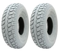 2 -Grey Mobility Scooter tyres, 330 x 100, block, pneumatic tire, 400-5 - set of