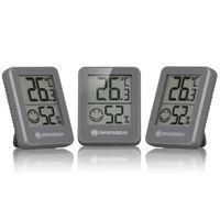 BRESSER Temeo Hygro Indikator 3er Set Thermo-/Hygrometer Farbe: grau