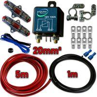SET RL180/12 Trennrelais 12V/100A inkl. 6m 20mm² Vollkupfer Kabelanschlusskit