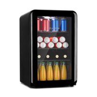 Klarstein PopLife 65L Getränkekühler , Kühlschrank , Retro-Design , Fassungsvermögen: 70 Liter , Temperatur: 0-10 °C ,  , mechanischer Drehregler , LED , anpassbare Füße , doppelt verglaste Fronttür , schwarz