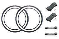 Set: 2x Kenda Weißwandreifen 2,25 x 19 Zoll, K252 2P, TT, 37L inklusive 2 Schläuche und 2 Felgenbänder für Moped, Mofa 50ccm