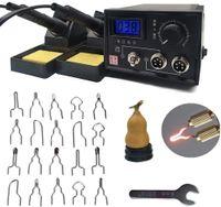 Brandmalerei,Brandmalstation Dual Holzbrenner mit Halterung,Pyrographie Maschine 60W 220V mit 20Pcs Brennspitzen für Holz Leder Kürbis Handwerk Brandmal