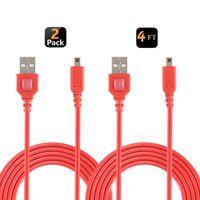 Exlene 3DS-Ladekabel (2er-Pack), 3DS-USB-Ladekabel Für Nintendo 3DS, Neue 3DS XL, 2DS, 2DS XL LL, DSi, DSi XL (Rot, 1,2 m)