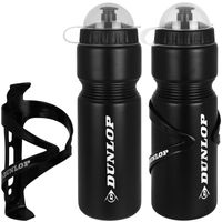 Dunlop Fahrradflasche 750 ml mit Halter 2 Stück schwarz Trinkflasche Fahrrad Wasserflasche Radflasche