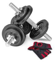 Hop-Sport 20kg Hantelset Gusseisen Kurzhanteln 2er Set Hanteln Gewichte 2x10 kg + Trainingshandschuhe
