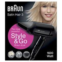 Braun Satin Hair 3 Style&Go HD350 Haartrockner, mit IONTEC Technologie, inkl. Stylingdüse, 1600 Watt
