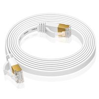 VERCO 20m CAT 7 Netzwerkkabel Patchkabel Flachkabel RJ45 PC LAN Kabel Ethernet Flach Weiss