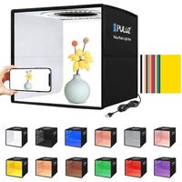 PULUZ Soft Box Set Tragbare Faltfotobeleuchtung Modifikator Fotografie Zeltbox Softboxen mit 12 Farben Hintergrund Softbox