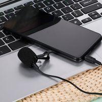 3.5AUX Lavalier Mikrofon Omnidirektionales Kondensatormikrofon Hervorragender Klang fuer Audio- und Videoaufnahmen Schwarz