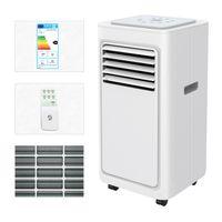 2,06kW / 7000BTU Eco Mobile Klimaanlage EEK A 4in1 Klimagerät R290, mit Kühl-, Lüfter- und Entfeuchtungsmodus, Schlaf- und 24-Stunden-Timer-Funktionen, 2 Lüftergeschwindigkeiten