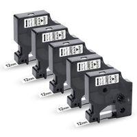 UniPlus 5x Kompatibel D1 Etikettenband als Ersatz für DYMO D1 45010 12mm x 7m Schwarz auf Transparent für Dymo LabelManager 160 280 360D 500TS 110 120P LabelPoint 150 250 LabelWriter 450 Duo