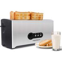 Aigostar Sunshine Toaster 4 Scheiben,1600W(7 einstellbare Bräunungsstufe + Auftau- & Aufwärmfunktion)edelstahl/schwarz
