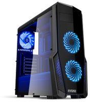 Empire Gaming - PC-Gehäuse Gaming WarFare  Schwarz LED-Leuchte Blau: USB 3.0, 3 Lüfter LED-Leuchte 120 mm, Seitenwand Transparent/Schwarz- ATX / mATX / mITX
