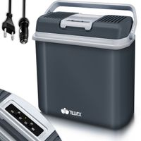 tillvex Kühlbox elektrisch 24L Grau | Mini-Kühlschrank 230 V und 12 V für KFZ Auto Camping | kühlt & wärmt | ECO-Modus
