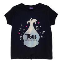 Trolls World Tour - T-Shirt, Vorne gebunden für Mädchen PG1519 (110) (Schwarz/Silber)
