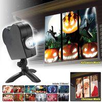 Weihnachten Halloween Fenster Projektor Lampe, 12 Film Festival LED Projektor Dekoration Party im Rampenlicht