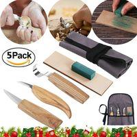 Holz-Schnitzwerkzeug Schnitzmesser Set, 5 teiliges Holz-Schnitzmesser und ein Schleifsteine, für holz, Obst, Gemüse, Carving DIY