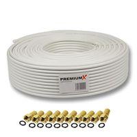 135dB 50m PremiumX Basic Pro SAT Kabel 5-fach Koaxialkabel Antennenkabel DVB-S / S2   DVB-C   DVB-T   BK Anlagen 10x F-Stecker