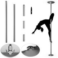 COSTWAY Profi Tanzstange | 45 mm Pole Dance Stange | Strip Stange static & spinning | Pole Dance Stange Edelstahl | hoehenverstellbar bis 200kg