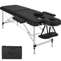 tectake 2 Zonen Massageliege mit Polsterung und Aluminumgestell - schwarz