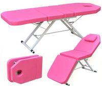 Massageliege Klappbar Therapieliege Massagebett Kosmetikliege Massagetisch Kosmetikliege Behandlungsliege 3 Abschnitte Massagestuhl Beauty-Bett Salon SPA Rosa