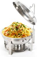 7,5L Rund Chafing Dish Warmhaltebehälter Edelstahl Wärmebehälter Speisenwärmer mit Wärmetank 360mm