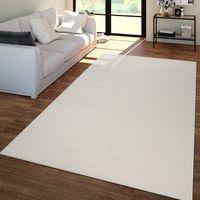 Wohnzimmer Teppich Unifarben Kurzflor Trendig Und Soft, Schlicht In Creme, Größe:200x280 cm
