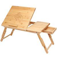 Casaria Laptoptisch Bambus mit Schublade Belüftungslöcher Höhenverstellbar 55x35x20-28cm Notebooktisch Bett Couch Sofa