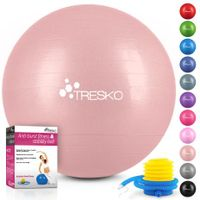 TRESKO Gymnastikball mit Pumpe Fitnessball Yogaball Sitzball Sportball Pilates Ball Sportball Rose-Gold 65cm (geeignet für 155 - 175cm)