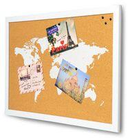 Gerahmte Pinnwand 60x40 Holzrahmen Korkplatte Kork Weltkarte Map Deko Weiss