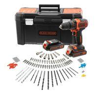 SCHWARZ + DECKER BCK186D2KA-QW Akku-Bohrschrauber - 18 V - 2 Batterien 2 Ah - 120 Zubehör - Lieferung im Werkzeugkasten