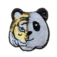 Tiger Panda Wendepailletten Aufnäher Aufbügler Bügelbilder Sticker Patches Pailletten Applikation für Textilien Kleider zum aufbügeln