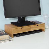 SoBuy® Monitorständer,Monitorerhöhung,Tischaufsatz aus Bambus mit 2 Schubladen,FRG198-N