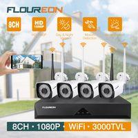 FLOUREON 8CH 1080P HD 2.4G WLAN Überwachungskamera Set WiFi NVR 4x Außen Funk IP Kamera IP66 No HDD