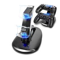 PS4 Controller Ladestation Charger, Ladegerät Stand mit USB Kabel Gelten für Playstation 4 / PS4 Slim / PS4 Pro Game Controller, Schwarz