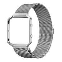 KNS-7 Armband aus Edelstahl mit Magnetschlaufe Kompatibel mit Fitbit Blaze Tracker mit Rahmen Großes Ersatzband Zubehör für Frauen Männer