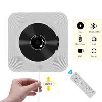 Tragbare Wand-CD-Player Musikverstärker Audio Boombox mit Fernbedienung Unterstützung BT / USB / FM-Modi EU-Stecker, Weiß
