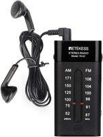 Retekess TR107 Tragbares mini Radio, FM AM-Taschenradio mit Kopfhörer, FM-Stereo, Tragbarer Radio, Transistorradio-Analog, Zeigerabstimmung, AAA-Batterie, zum Gehen, Joggen, Reisen (Schwarz)