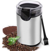 Elektrische Kaffeemühle, morpilot Edelstahl Coffee Grinder, Mühle für Kaffeebohnen Gewürz Getreide Nüsse, mit Reinigungsbürste, Edelstahlmesser (Silber#1)