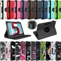 Tablet Tasche Huawei MediaPad T5 10.1 Hülle Cover Case 360° Drehbar Schutzhülle, Farbe:Schwarz