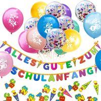 Oblique Unique Schuleinführung Schulanfang Einschulung Deko Set - Girlande + Luftballons + Konfetti