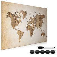 Navaris Magnettafel Magnetpinnwand Memoboard zum Beschriften - 60x40 cm Notiztafel World Map Vintage Design - Tafel abwaschbar mit Halterung Magneten Stift