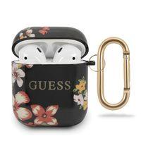 Guess Apple Airpods Silicon Cover Flower Collection 4 Schwarz Schutzhülle Tasche Case Etui Halter Zubehör