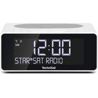 TechniSat DIGITRADIO 52 Stereo DAB+ Radiowecker mit UKW, Snooze-Funktion, Sleeptimer, dimmbares Display, Wireless-Charging Funktion, Stereo Lautsprecher 2 x 1W in weiß