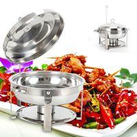 7,5L Edelstahl Speisenwärmer,Warmhaltebehälter,Rund,Chafing Dish