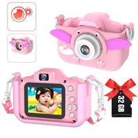 Kinder Kamera, Kinderkamera Digital Fotokamera Selfie, Zweifachkamera 2000W HD-Bildschirm 1080P 32 GB TF-Karte , Jungen und Mädchen Geschenke für 3 bis 12 Jahre alte(Rosa Elefant)