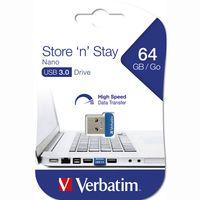 Verbatim Store `n` Stay NANO - USB-Flash-Laufwerk - 64 GB - USB 3.0 - Blau