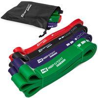 Hop-Sport Fitnessbänder SET aus Latex verschiedene Ebenen Wiederstandsbänder für Kraft & Fitnesstraining und Muskelaufbau - Klimmzüge 7-57kg - 4 Bänder