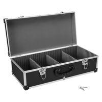 DJ CD-Koffer Alukoffer für 80 CDs mit Schlüssel DJ Case Box Innenraum gepolstert - für 80 CDs schwarz | Schwarz