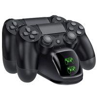PS4 Controller Ladestation, Dualshock 4 Ladestation Stand Charger PS4 Ladegerät Zubehör für Sony Playstation 4 / PS4 Slim / PS4 Pro Wireless Controller Gamepad mit LED Anzeige und USB Kabel